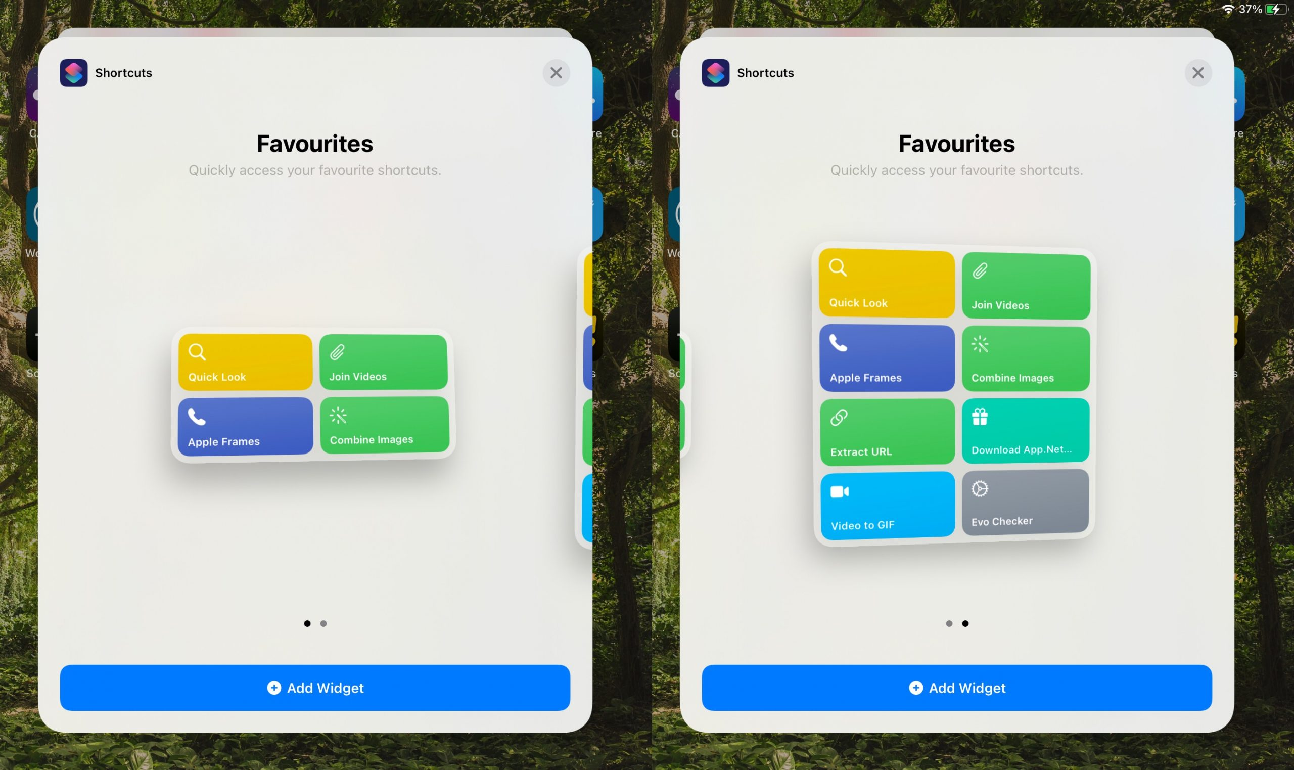 Shortcuts widgets